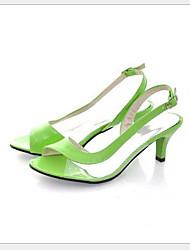 preiswerte -Damen Schuhe PU Sommer Komfort Sandalen Niedriger Heel Schwarz / Gelb / Grün