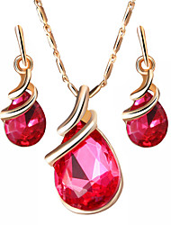 cheap -Women's Crystal Jewelry Set - Drop Sweet, Fashion, Elegant Include Drop Earrings / Pendant Necklace / Bridal Jewelry Sets Purple / Red / Blue For Wedding / Gift