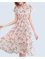 baratos -Mulheres Moda de Rua Delgado Chifon Vestido - Estampado, Floral Decote Canoa Cintura Alta Altura dos Joelhos / Primavera / Verão