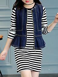 cheap -Girls' Striped Clothing Set, Rayon Spring Fall Long Sleeves Street chic Black