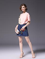 Недорогие -Жен. Активный Рубашка Юбки - Пэчворк, Контрастных цветов