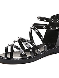 cheap -Women's Shoes Synthetic Microfiber PU Summer Comfort Sandals Flat Heel Open Toe Beading White / Black / Silver