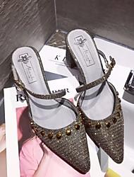 povoljno -Žene Cipele Svjetlucave šljokice Proljeće Jesen Udobne cipele Cipele na petu Kockasta potpetica za Kauzalni Zlato Pink