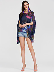 cheap -Women's Street chic Batwing Sleeve Oversized Blouse - Floral, Print