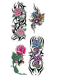 abordables -Waterproof / Pegatina tatuaje Cuerpo / brazo / hombro Los tatuajes temporales 1 pcs Series de Flor Artes de cuerpo