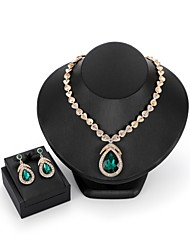 cheap -Women's Zircon / Gold Plated Drop Jewelry Set 1 Necklace / Earrings - Statement / Fashion Geometric Red / Green Jewelry Set / Drop