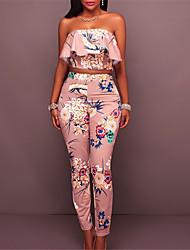abordables -Mujer Noche Corto Conjunto - Floral, Volante Estampado Sin Tirantes Alta cintura Pantalón