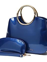 preiswerte -Damen Taschen PU Bag Set 2 Stück Geldbörse Set Knöpfe Blau / Schwarz / Rote
