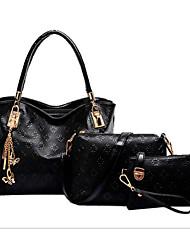 baratos -Mulheres Bolsas Couro PU / Couro de Poliuretano Conjuntos de saco 3 Pcs Purse Set Ziper Dourado / Preto / Bege