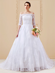 cheap -A-Line Princess Off Shoulder Cathedral Train Lace Over Tulle Custom Wedding Dresses with Appliques by LAN TING BRIDE®