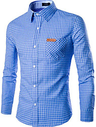 cheap -Men's Work Slim Shirt - Plaid Print Spread Collar / Long Sleeve