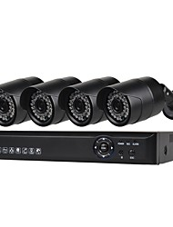 cheap -4 CH Security System with 4ch 1080N AHD DVR 4pcs 1.0MP Weatherproof Cameras with Night Vision