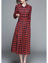 povoljno -Žene Jednostavan Korice Haljina Karirani uzorak Midi