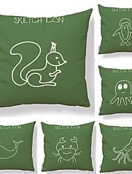 baratos -6 pçs Téxtil Algodão / Linho Fronha Cobertura de Almofada, Estampa Geométrica Estampado Inovador Animais Estilo Artístico