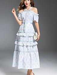 baratos -Mulheres Sofisticado Manga Alargamento balanço Vestido - Frufru / Franzido, Floral Ombro a Ombro Médio