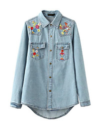 cheap -Women's Basic Cotton / Polyester Shirt - Floral / Letter Shirt Collar / Embroidery
