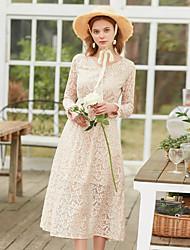 levne -Dámské Vintage Pouzdro Šaty - Jednobarevné, Krajka Midi