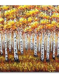 Недорогие -styledecor® современная ручная роспись абстрактной желтой лесной масляной живописи на холсте для настенного искусства, готовая повесить искусство