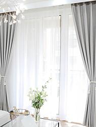 abordables -Rideaux occultants rideaux Chambre à coucher Couleur Pleine Rayure Coton / Polyester Imprimé