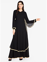 cheap -Women's Plus Size Street chic / Sophisticated Loose Shift / Swing / Abaya Dress - Solid Colored Black, Lace up High Waist Maxi