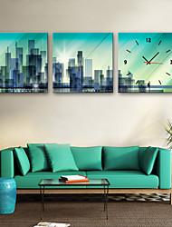 Недорогие -Современный Панорама города холст Квадратный В помещении,Батарея