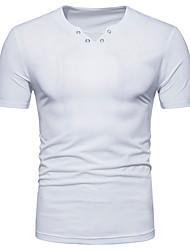 baratos -Homens Camiseta Moda de Rua Sólido Algodão Decote V Delgado / Manga Curta