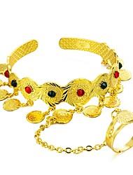 Недорогие -Браслет цельное кольцо Браслет разомкнутое кольцо Дамы Этнический африканец Позолота Браслет Ювелирные изделия Золотой Назначение День рождения Подарок