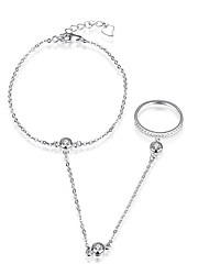 abordables -Femme Zircon S925 argent sterling 1pc Chaînes & Bracelets - Mode Forme de Cercle Argent Bracelet Pour Cadeau Quotidien