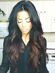 Недорогие -Необработанные Парик Малазийские волосы Волнистый Средняя часть Стрижка каскад 130% плотность С детскими волосами Темные корни Волосы с