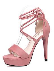 abordables -Femme Chaussures Daim Eté Confort Sandales Talon Aiguille Bout ouvert Rouge / Rose / Kaki / Rubans