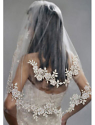 cheap -Two-tier Stylish Pearls Wedding Veil Elbow Veils 53 Faux Pearl Embroidery POLY