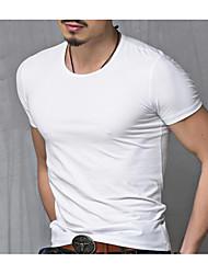 billige Bestselgere-Bomull Rund hals Store størrelser T-skjorte Herre - Ensfarget