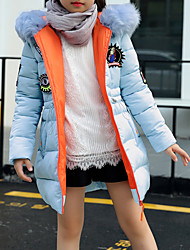 cheap -Girls' Solid Down & Cotton Padded, Cotton Polyester Long Sleeves Casual Blue White Black Blushing Pink
