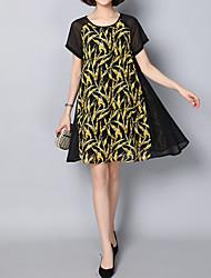 povoljno -Žene Jednostavan Šifon Swing kroj Haljina - Print Kolaž, Cvjetni print Iznad koljena