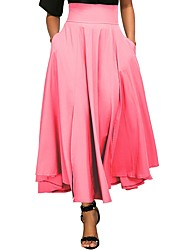 cheap -Women's Basic Maxi Swing Skirts - Solid Colored High Waist / Summer