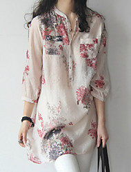 cheap -Women's Street chic Loose Shirt - Floral Stand