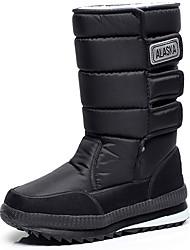 baratos -Mulheres Sapatos spandex Primavera / Outono / Inverno Botas de Neve / Botas da Moda Botas Sem Salto Botas Cano Médio Preto