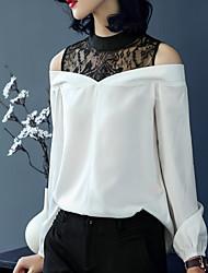 baratos -Mulheres Camiseta - Feriado Vintage Renda, Sólido Colarinho Chinês