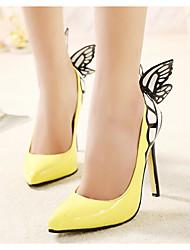 preiswerte -Damen Schuhe PU Frühling Herbst Pumps Komfort High Heels Stöckelabsatz für Schwarz Gelb