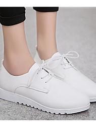 baratos -Mulheres Sapatos Couro Ecológico Primavera Outono Conforto Oxfords Salto Baixo para Casual Branco Preto