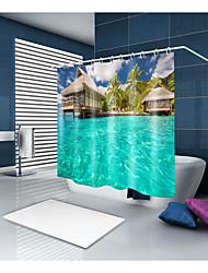 abordables -Rideaux de douche et anneaux Moderne Décontracté Polyester Moderne Nouveauté Fabrication à la machine Imperméable Salle de Bain