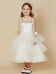 cheap -Princess Tea Length Flower Girl Dress - Satin Tulle Sleeveless Jewel Neck with Appliques Buttons by LAN TING BRIDE®