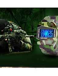 baratos -Homens Casal Relógio Casual Relógio Esportivo Relógio de Moda Digital Impermeável Calendário Noctilucente Silicone Banda Digital Luxo Casual Verde Trevo - camuflagem verde