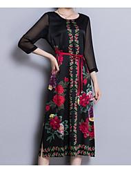 abordables -Femme Grandes Tailles Sortie Chinoiserie / Chic de Rue Soie Mince Tunique Robe Fleur Taille haute Midi
