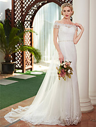 cheap -A-Line Off Shoulder Court Train All Over Lace Custom Wedding Dresses with Beading Pearl by LAN TING BRIDE®