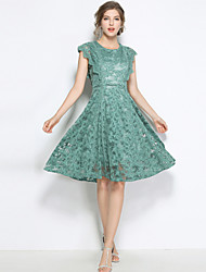 cheap -SHIHUATANG Women's Vintage Street chic A Line Dress - Solid Colored Lace