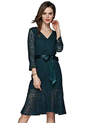 cheap -SHE IN SUN Women's Basic Street chic Trumpet / Mermaid Dress - Solid Colored Lace