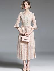 baratos -Mulheres Sofisticado Moda de Rua Evasê balanço Vestido - Renda, Sólido Longo