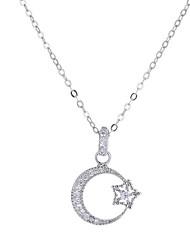 preiswerte -Damen Kubikzirkonia Anhängerketten  -  MOON, Stern Europäisch, Modisch Silber 40 cm Modische Halsketten Für Hochzeit, Party / Abend
