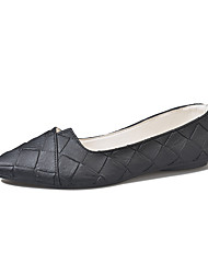cheap -Women's Shoes Leather Summer Comfort Flats Walking Shoes Low Heel Pointed Toe Split Joint for Casual Black Gray